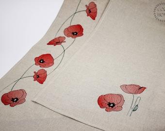Linen Wabi Sabi Kitchen Towel Set Natural Poppy Decor Towels Flowers  Embroidery Towel Natural Kitchen Home Decor Rustic Towel Provence Towel