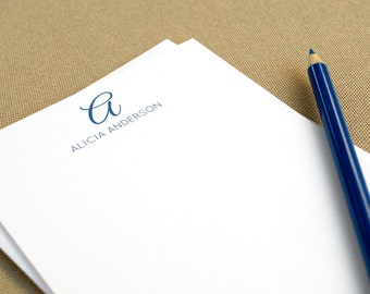 Personalized Stationery Note Cards with Name and Script Initial / Custom Family Stationary Set
