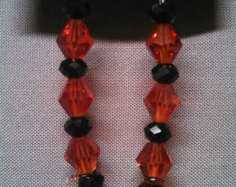 Red and Black Glass Bead Earrings