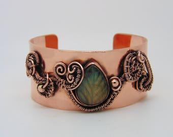 Labradorite Leaf Cuff -  Wire Wrapped Jewellery - Copper Bangle - Copper Anniversary - Statement Bracelet - Nature Jewellery
