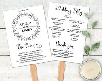 Wedding Program Fan Editable Template, DIY Wedding Program, Wreath Wedding Program Printable, Ceremony Printable, PDF Instant Download LW110