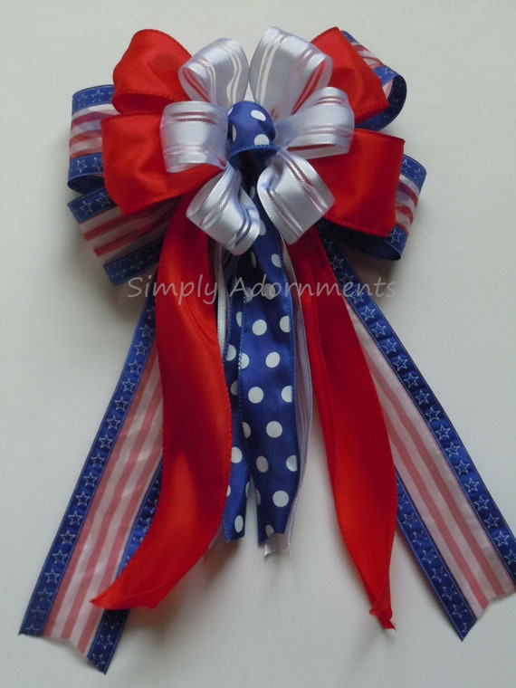 Red White Blue Patriotic Wreath Bow Fourth of July Party Decor July 4th wreath Bow Patriotic Gift Bow Independence Day Party Decor Pew Bow