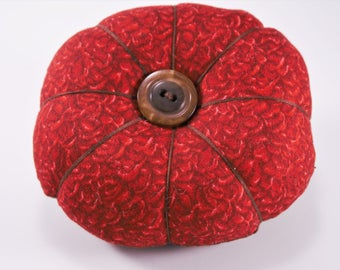Retro Pincushion, Red and Brown Pincushion with Decorative Pins, Reversible Pincushion, Sewing, Quilting, Sewing Supplies