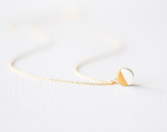 Gold Geometric Necklace with White Gold Dipped Circle, Gifts for Her, Dainty Necklace, Geometric Jewelry