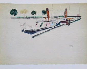 "Schiele Egon, 30 Lithograph, ""Paddle Steamer at the Quay"""