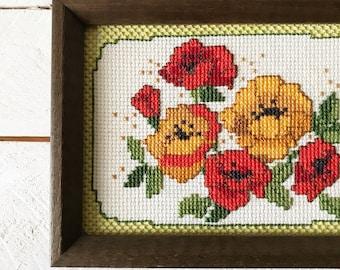 Vintage Floral Cross Stitch || Vintage Framed Embroidery