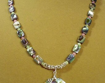 "GORGEOUS 19"" Abalone necklace - N494"