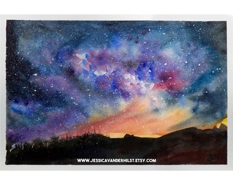 "8""x12"" Art print: Bushfire on the horizon on a clear, moonless night; watercolour painting | Starry sky | Night sky | Australian landscape"
