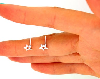 sterling silver Star design Earrings Post Earrings Stud Earrings (E-03)