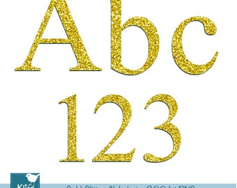 Gold Glitter Alphabet - Digital Clipart / Scrapbooking colorful - card design, invitations, web design - INSTANT DOWNLOAD