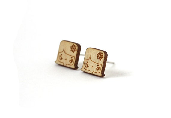 Lily studs - angry girl with flower earrings - mini character posts - tiny jewelry - lasercut maple wood - hypoallergenic surgical steel
