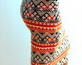 Tangerine stretch skirt. Summer knit pencil skirt -Women orange print skirt-Knit low rise knee skirt- Casual body fitted skirt