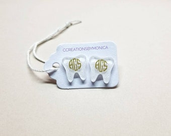 Molars. Tooth Earrings. Teeth. Dentist Gifts. Dental Hygienist Jewelry. Personalized Orthodontist Accessories. Appreciation. RDA Graduation.