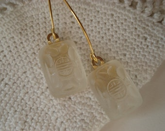 Vintage Lalique Inspired Czech Crystal Frosted Matte Glass Gold Earrings Himalayas Zen