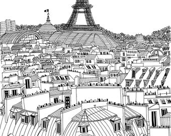 Paris Drawing: Original Ink Drawing of Paris Rooftops