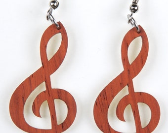 Treble Clef, Laser Cut, Wood Earring
