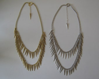 gold or silver multi level chain and spike necklace statement necklace adjustible 2 strand chain