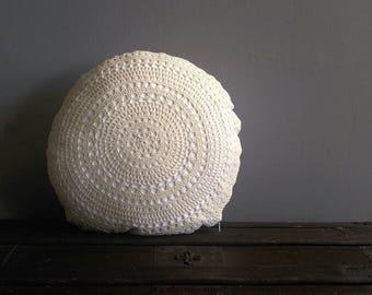 Crochet Round Cushion | Round Pillow | Boho Pillow | Decorative Pillow | Crochet Cushion | Crochet Pillow | Doily Pillow Cover | Doily