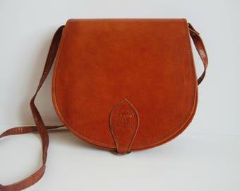 Vintage Brown Leather Messenger Bag, Brown Saddle Bag, Crossbody Bag, Leather Satchel