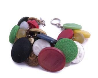 Vintage Button Bracelet, Colorful Bracelet, Recycled Button Bracelet, Upcycled Button Jewelry, Gift for a Seamstress, Button Charm Bracelet