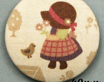 Sunbonnet Sue (40-05) - Sunbonnet - fabric covered button