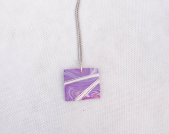 Square polymer clay pendant necklace