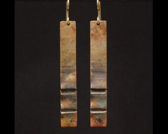 Brown fading to grey foldformed copper earrings