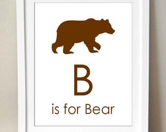 B ist für Bären 8 x 10 Art Print personalisierte Baby Kinder Kinderzimmer Dekor