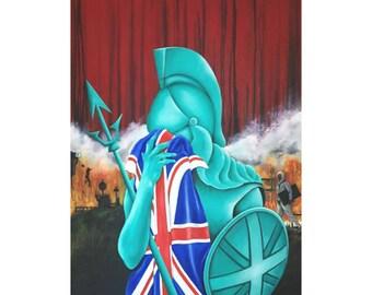 Black friday special 500 off! Original oil on canvas - award winning art work, Britania Riots, political painting, award winning painting,