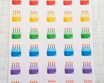 Birthday Cake Stickers (Set of 40) Item #378