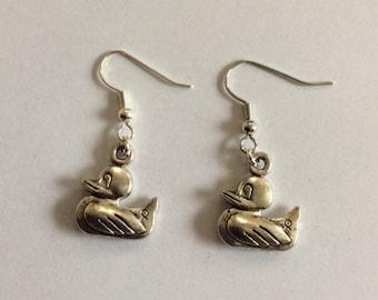 Ducks silver-colored earrings