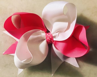 pink and white stacked hair bow