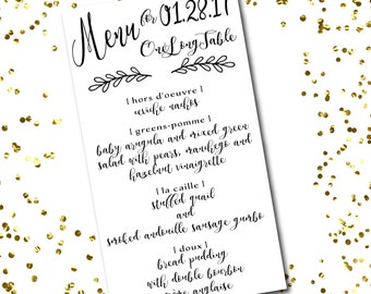 Wedding Menus // Printed Dinner Menus // Wedding Menu Cards // Reception Menu // Wedding Decor // Calligraphy Menu // Napkin Menu Insert