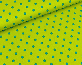 Cotton jersey kiwi with turquoise dots (10.90 EUR/meter)