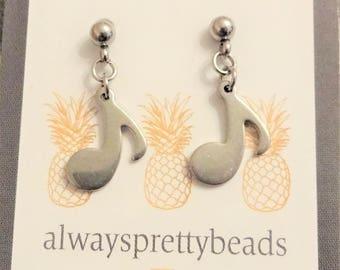 MUSIC NOTE EARRINGS - post earrings with dangle - all stainless steel earrings - hypoallergenic, non allergenic, sensitive ears non allergic