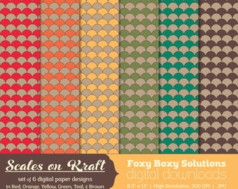 Scale Pattern on Kraft Digital Paper Pack: set of 6 digital papers in red, yellow, brown, orange, teal, and green  Instant Download