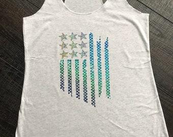 Mermaid Flag, patriotic, nautical, graphic tee, workout tank, summer tank, beach tank, Triblend Tank Top, Soft Tank, Gym, Yoga vest.