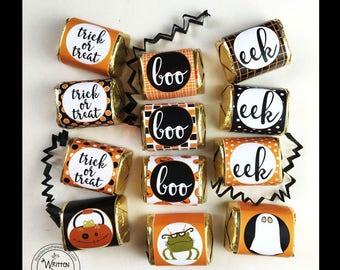Halloween Nugget Wraps, Hershey, Boo, Eek & Trick Or Treat, Party Favors, Co-Workers Treats-Party Treats, Classroom Treats, Kids Candy