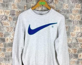 NIKE Sweatshirts Small Ladies Vintage 90's Nike Swoosh Big Logo Sportswear Jumper Jordan Sports Gray Pullover Nike Air Sweater Size S