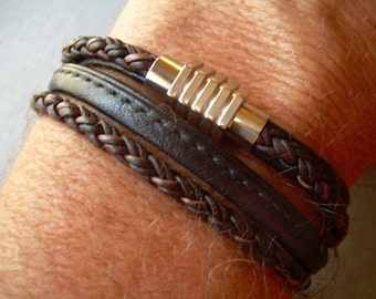Mens Leather Bracelet with Stainless Steel Magnetic Clasp, Mens Bracelets Leather, Leather Bracelet, Mens Jewelry, Gift for him,