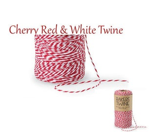 Bakers Twine  Cherry Red & White Duo 4-ply 100% Cotton Baker's Twine , gift wrap, favors, farmhouse wedding