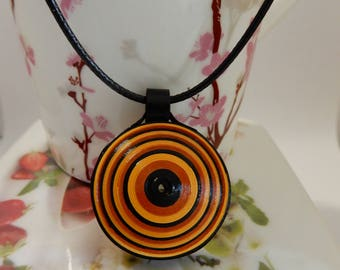 Colourful coil charm necklace, Paper necklace, Evileye necklace, Quilling necklace
