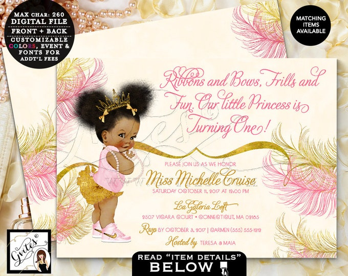 "Pink and Gold Birthday Invitations, First Birthday, Ivory gold and pink, African American DIGITAL,7x5"" Double Sided. Afro Puffs. Gvites"