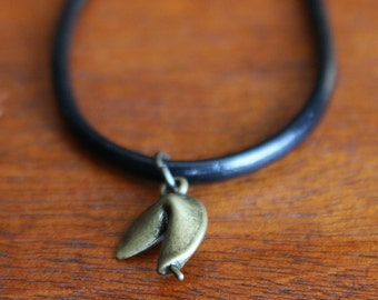 Mini Bronze Fortune Cookie Leather Cord Chocker