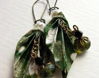 Origami Leaf Earrings - Spring Fresh Green