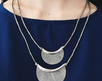 Layered Ethnic Silver Necklace, Layered Necklace, Silver Necklace, Beaded Silver Necklace, Sterling Necklace, Ethnic Necklace, Delicate