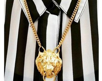 Big Bold & Gold Lion Door Knocker Necklace Pendant