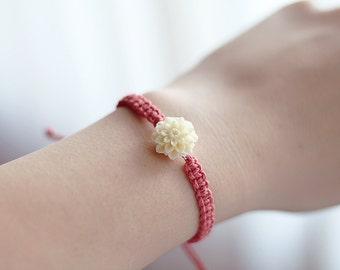 Chrysanthemum Bracelet - Bridesmaid Jewelry - Hemp Bracelet