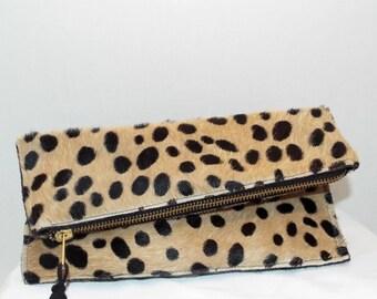 Cheetah Print leather Clutch bag