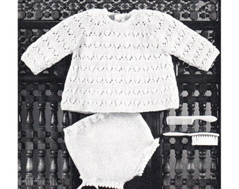 Baby Girls Knitting Pattern Top and Knickers Infant Raglan Sweater & Panties Knitting Pattern Diaper Cover PDF Instant Download K99
